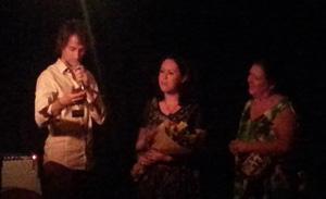 Sean Foran presenting to Lyn Irwin